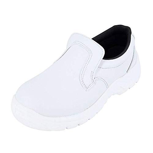 Arbeitsschuhe Damen Sicherheitsschuhe Leicht Sportlich Atmungsaktiv Arbeitsschutzschuhe Schnüren Sportschuhe Laufschuhe Freizeitschuhe (EU:37, Weiß)