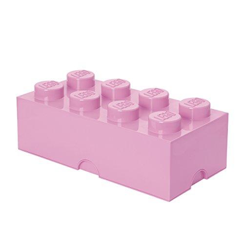 LEGO Aufbewahrungsstein, 8 Noppen, Stapelbare Aufbewahrungsbox, 12 l, hellrosa -