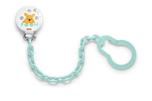 Nuk 10256448 Disney Winnie Schnullerkette, mit Clip zur sicheren Befestigung des Schnullers an Baby's Kleidung, 1 Stück, türkis