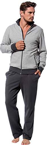 Morgenstern Herren Hausanzug Freizeitanzug Trainingsanzug hellgraue Jacke und graue Hose Größe XL
