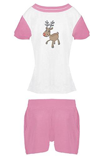 Dkaren-Baby/Kinder Jungen und Mädchen Pyjama Zweiteilig aus T-Shirt und Shorts mit Motiv (98-158) (Pulver 102, 158) (Bambus-baumwoll-shorts)