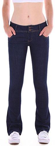 Damen Bootcut Jeans Hose, Hüftjeans, Schlagjeans in blau Damenjeans Damenhose Bootcutjeans Bootcuthose Schlag Schlaghose Weites Bein Hüfthose Hüft Hüftig Lowrise Low Rise Sieze Gr Größe XL 42