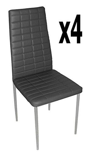 Lot de 4 chaises longues de salon en PU coloris noir, 500 x 415 x 950 mm -PEGANE-