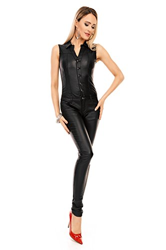 Mayaadi Damen Overall Hose Jumpsuit Einteiler Leder Look -