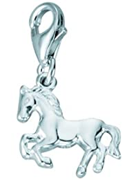 Silber 925 Sterling Silver Charms - Anhänger - Pferd - B. 13,5 mm - H. 11,6 mm