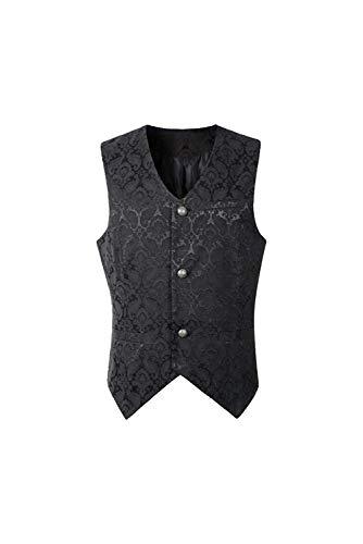 eile Party Mittelalterlich Weste Schnürung Ärmellos Cosplay Kostüm Bluse-Steampunk Gothic Viktorianisch Vest Retro Vintage Kurz Männer Oberteil Tops ()