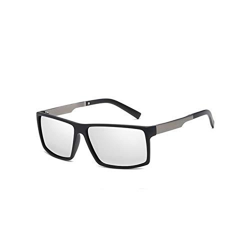 Sport-Sonnenbrillen, Vintage Sonnenbrillen, Fashion Classic HD Polarisiert Sunglasses Men Square Driving Sun Glasses Male Outdoor Sports Goggles UV400 Gafas CC1040 C5 Black silver
