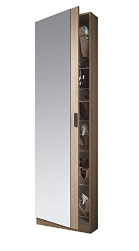 Habitdesign 007866F - Armario Zapatero con Espejo, Color Roble Natural, Medidas: 180 cm Alto x 50...