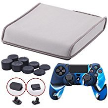 9CDeer Soft Neoprene Dirt Dust Protective Cover Grey for PS4 Slim Horizontal Version + 1 Piece Controller Silicone Cover Skin camouflage blue + 2 Pieces Controller Dust Proof Plugs + 8 Pieces Thumb Grips