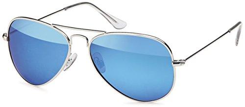 Polarisierte Unisex Edelstahl Pilotenbrille Aviator im Set mit Zubehör- UV 400 Filter (Blau...