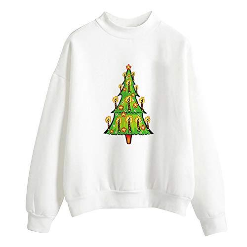 Geili Weihnachts Pullover Damen Mädchen Weihnachtsmann Gedruckt Santa Sweatshirt Christmas Sweater Frauen Rundhals Langarm Weihnachten Pulli Bluse Tshirt Tops Festlich Kostüm M-2XL (Rosa Santa Kostüme)