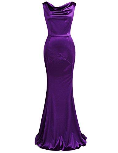 MUXXN Retro robe longue et serpilliere du banquet de mariage de femme des annees 1950 Violet