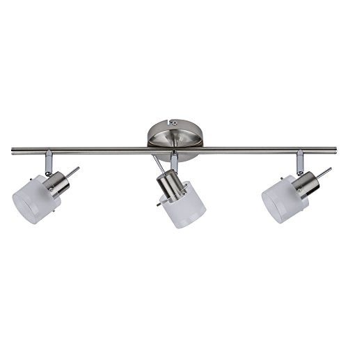 Biard 'Vermont' Lámpara Aplique de Techo + 3 Luces - Barra de Tres Focos - Riel Orientable 360° para Iluminación de Interior - Vidrio y Níquel Satinado (Carril de Techo, GU10, IP20)