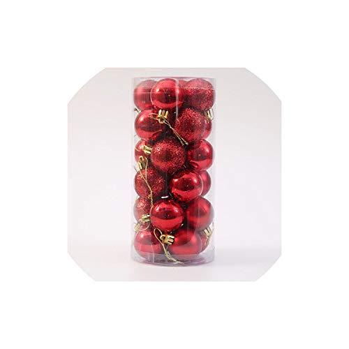 YearningH Christmas balls 24 PCS 4cm Moderne Weihnachtsbaum Deko-Kugel-Flitter-Partei-Hochzeit hängend, Rot