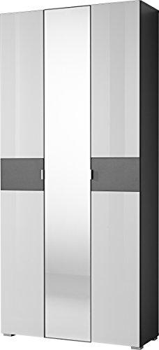 Germania 3319-110 Garderobenschrank mit Spiegeltür GW-Alameda in Anthrazit/Weiß, 88 x 197 x 34 cm...