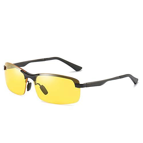 AORON Sonnenbrillen für Herren und Damen, Polarisierte Sonnenbrille mit Halbrahmen, Metall, Anti-Polarisierung, UV-Schutz, Geeignet für Autofahren, Outdoor, Reisen, Nacht,blackyellow