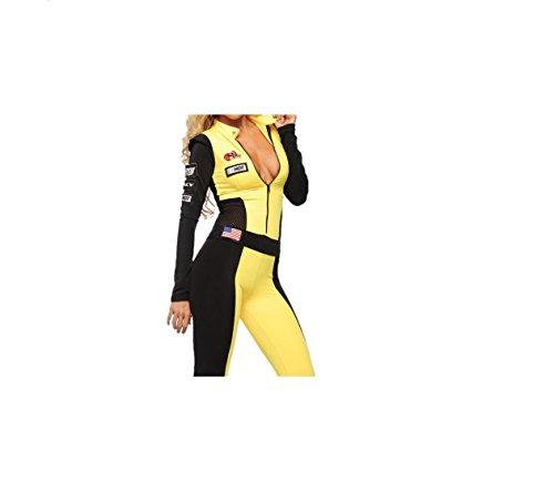 Gelbe & Black Racing Kostüm (Frauen Rennfahrer Für Kostüm)