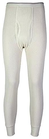 Indera Men's Cotton Waffle Knit Heavyweight Thermal Underwear Pant, Natural, Medium by Indera