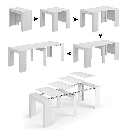 Esidra tavolo allungabile, consolle legno 235 cm, 4 allunghe, 90 x 50 x 78 cm (bianco)