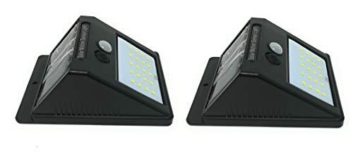 ZEEFO 2Pack 20 LEDs Luces Solares para Exteriors, Luces de Movimiento Super Brillantes 3 Modos con Iluminación Gran Angular, Luces de Seguridad Inalámbricas Impermeables para Pared,Calzada,Patio