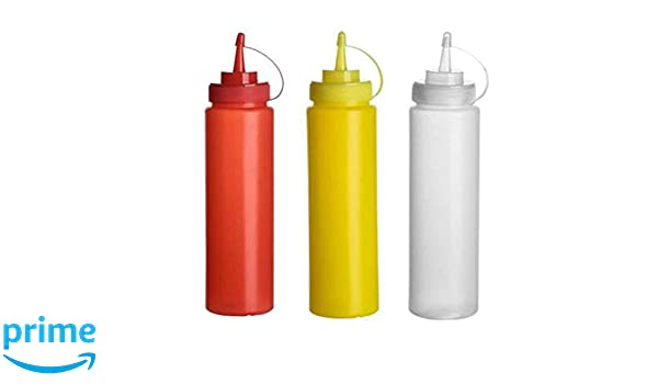 12x Plastic Red Bottle 12oz Squeeze Squeezy Sauce Ketchup Dispenser Bottles