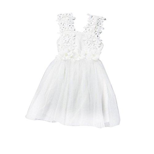 Bebe Vestidos, Switchali alta calidad bebés encaje Tul Vestido de Fiesta chica Vestir Dama de honor Verano Niña princesa vestido de fiesta (100, Blanco)
