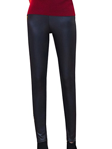 Guiran Women's Winter Thick Lined High Waist Pu Leather Leggings Tights  Pants Faux Leather Warm Trou - £8.33