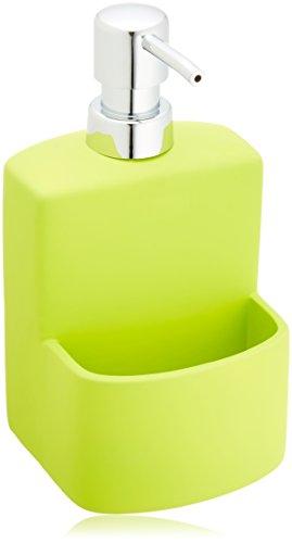 Wenko 3620112100 Dispensador de detergente True Colours Festival verde - Soft-Touch superficie, 0.38 L, Cerámica Soft-Touch, 10 x 18 x 10 cm, Verde