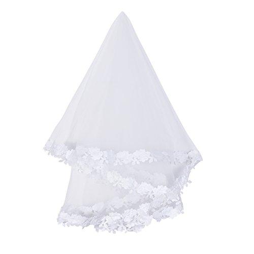 OULII 1.5M velo de la novia nupcial velo de malla de encaje para festejos de la boda (blanco)