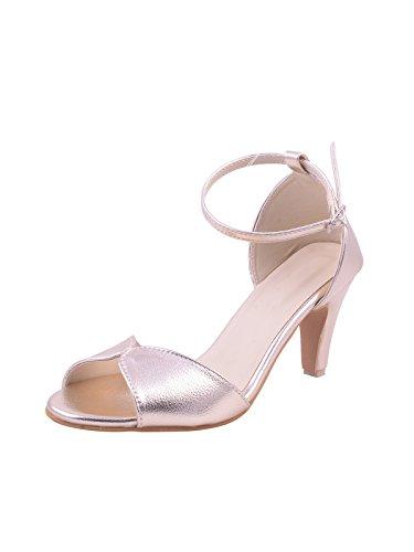 Adorn Women's Golden Kitten Heel Sandal - 7