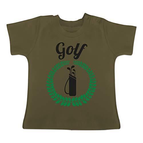 Evolution Baby - Lorbeerkanz Golftasche - 12-18 Monate - Olivgrün - BZ02 - Baby T-Shirt Kurzarm
