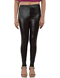 Timbre Faux Leather Coated Leggings Jeggings For Women Party Wear Black