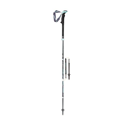 LEKI Damen Micro Vario Carbon Nordic Walking Stock, Black/Anthracite/White/Turquoise, One Size