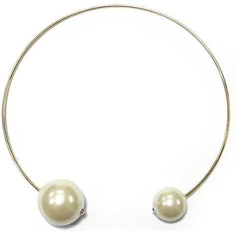 Collana girocollo rigida, in metallo dorato, con perle e sfere, colore: crema - Crema Girocollo