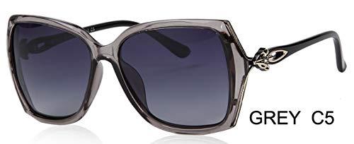 LKVNHP Fox Aussehen Design Schmetterling Kunststoff Sonnenbrille Frauen Polarisierte Retro Uv400 Mode Fahren Brillen Mujer BrilleWPGJ181 grau c5