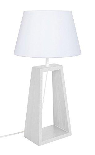 Tosel 65074 Lampe à Poser 1 Lumière, Bois, E14, 40 W, Blanc, 22 x 42 cm