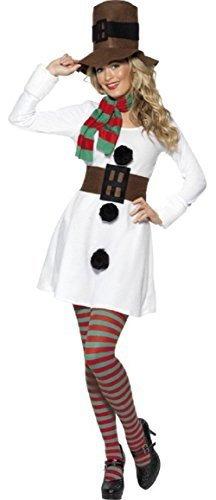 Fancy Me Damen Erwachsene 4 Stück Sexy Weihnachten Weihnachten Schneemann Winter Kostüm Kleid Outfit 8-18 - Weiß, 12-14