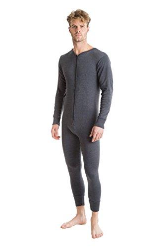 OCTAVE® Herren Thermo-Unterwäsche All in One Union Anzug mit Reißverschluss hinten Lasche XXL anthrazit (Thermal Anzug Union)