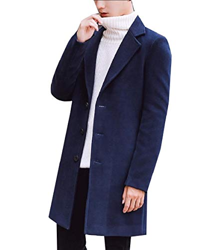 CuteRose Mens Notch Collar Single Breasted Wool Blended Autumn Peacoat Navy Blue 3XL Navy Wool Toggle Coat