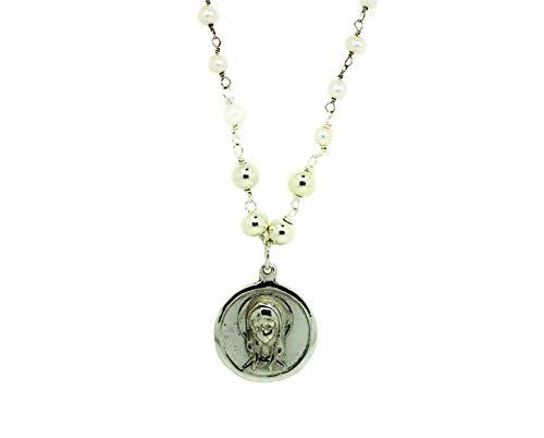Kokomorocco Medalla comunión Virgen niña de Plata de Ley 925 y Cadena Rosario de Perlas, Collar Ajustable, Regalo de Cuento con Leyenda de la Virgen niña, Caja y Bolsa de Regalo Incluido