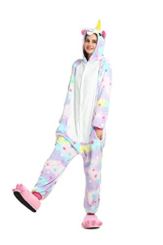 Unicorno pigiama adulti e bambini unisex kigurumi onesie flanella pigiama tuta intera sleepwear adorabile animali travestimenti per compleanno carnevale cosplay easter festa halloween natale party