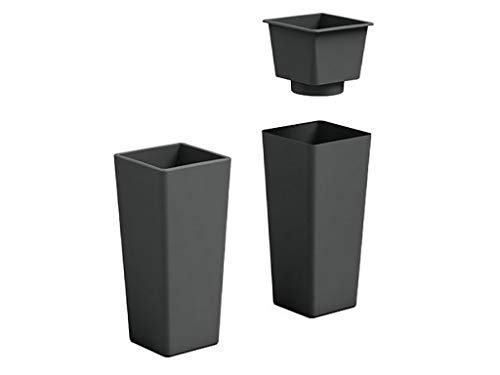 Veca spa cachepot vaso fioriera in plastica clou colore antracite h 85 cm per interno esterno made in italy amdgarden