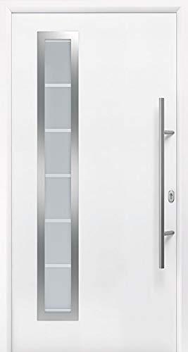 Aluminium Haustür NTS Plus (RC 2) - 3 Modelle und Farben - Edelstahlgriffe - Hohe Wärmedämmung - 5-fach Verriegelung - 3-fach Verglasung - DIN links/rechts (Modell 710, RAL 9016 Verkehrsweiß)