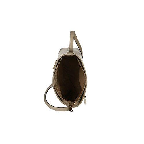 Chicca Borse Borsa a tracolla in pelle 27x 23x 10 100% Genuine Leather Fango