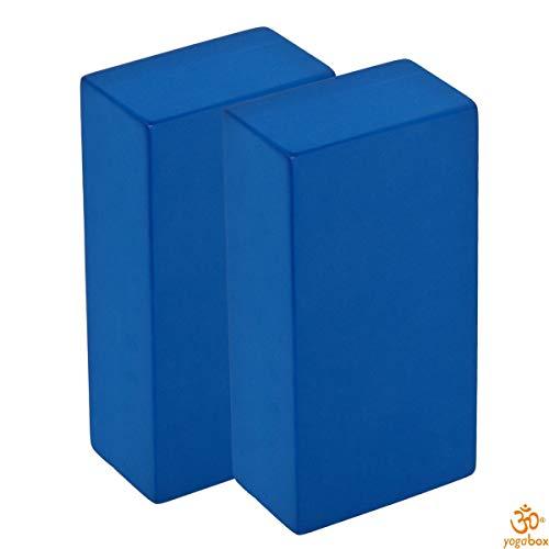 Yogaklotz / Yoga Block high density, 22 x 11 x 6, 6 cm Schadstoffgeprüft - recycelbar - abwaschbar Material: EVA-Schaum (Ethylene-Vinyl-Acetat), blau, Set (2 Stück)