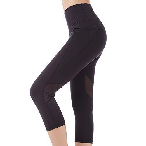 SEYO Sporthose Damen Yogahose Leggins Hoher Bund Sport Leggings Blickdicht Tasche Fitnesshose (Schwarz-Mesh, X-Large)