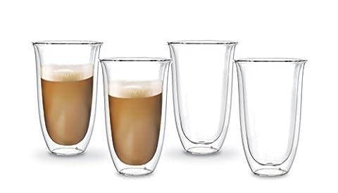 Doppelwandige Latte Macchiato Thermo-Gläser   4 x 380ml große Tassen mit Schwebeeffekt für Milch-Kaffee, Kakao, Tee, Cappuccino, Shake, Smoothie, Cocktail, Eis, Dessert, etc. Das Glas / die Becher sind Handarbeit in höchster (Latte Macchiato Tasse)