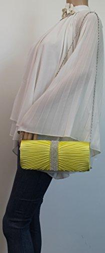 SwankySwansJane Satin Diamante - Sacchetto donna Yellow