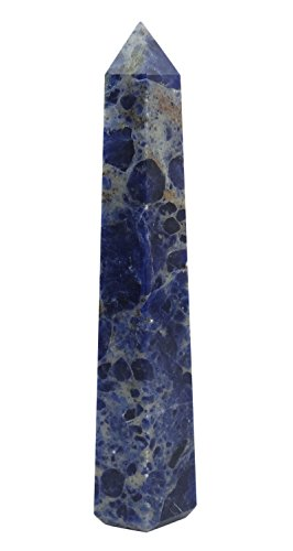 Harmonize armonizzare giada pietra spirituale obelisk tower reiki healing crystal energy generator table décor, cristallo, blue (sodalite), red gift pouch
