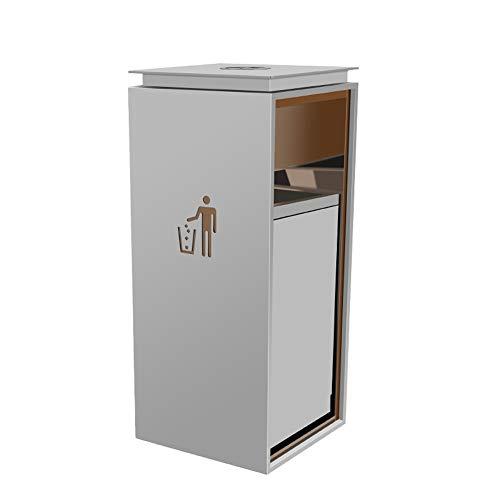 DYYDP Wertstofftonnen Gewerbliche Abfalleimer, quadratischer Mülleimer aus Edelstahl , Geeignet für Park/Platz/Bank/Hotel/Garten, Mülltrennungssystem , Außenabfalleimer